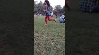 Priyanshi playing football in park