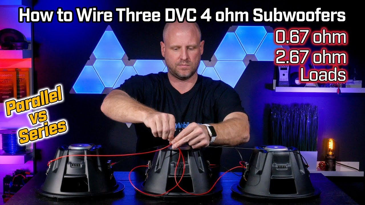 how to wire three subwoofers dvc 4 ohm 0 67 ohm parallel vs 2 67 ohm series [ 1280 x 720 Pixel ]