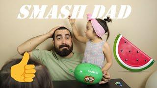 Watermelon SMASH!!! Challenge - daddy vs daughter