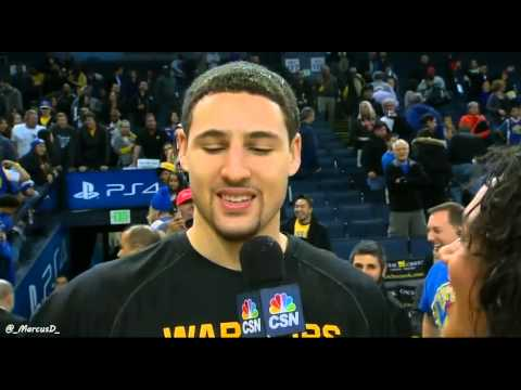 Steph Curry dumps water on Klay Thompson during post-game interview