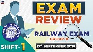 Railway Group D 2018  EXAM REVIEW | SHIFT 1 | जानें क्या आया Exam में  | 17.09.18