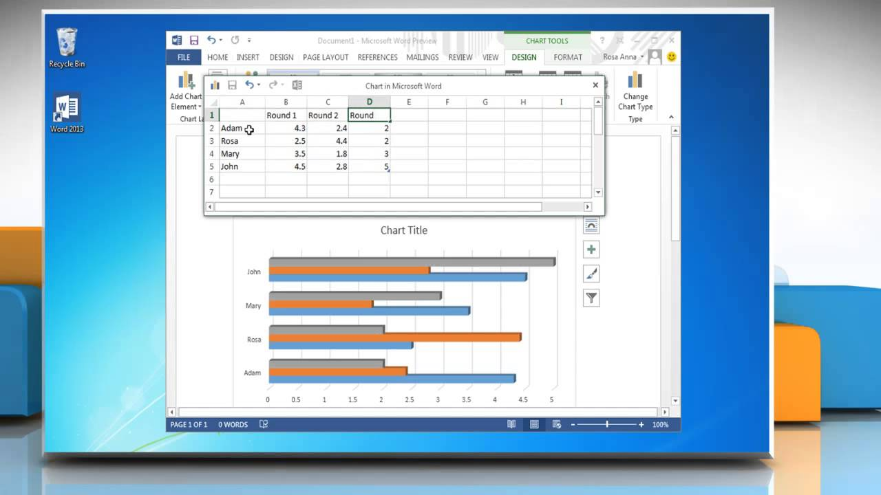 How to make a bar graph in Word 2013 - YouTube