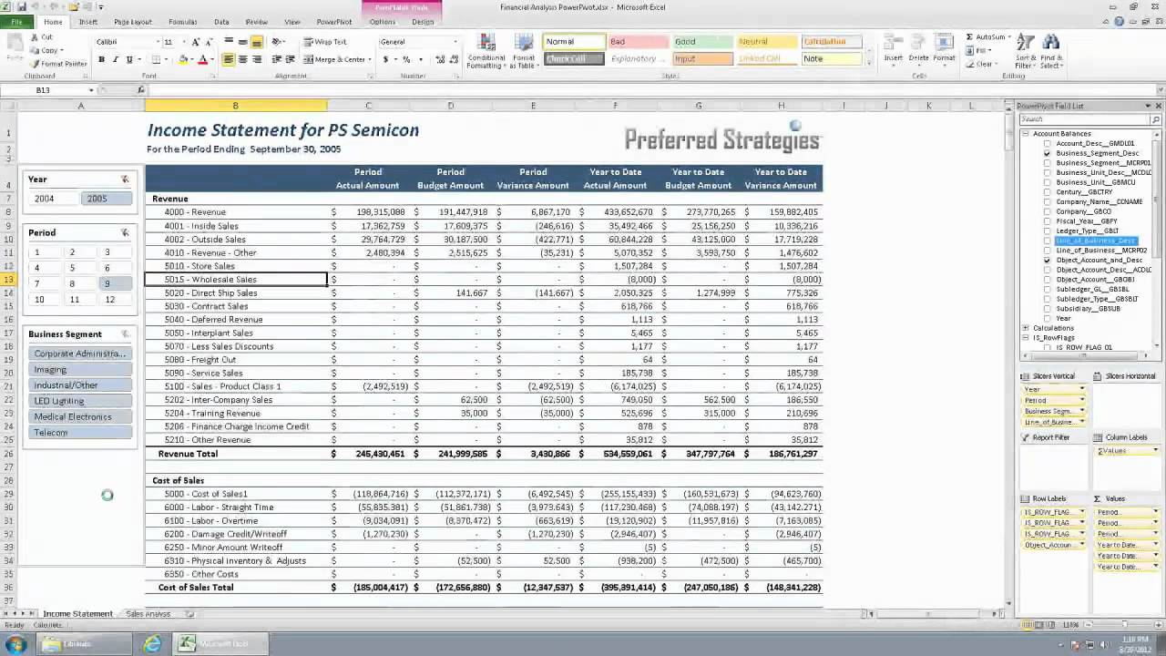 Microsoft PowerPivot For JD Edwards   Part 2: Demo   Income Statement    YouTube  Income Statement Microsoft