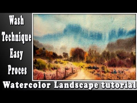 Wet-on-Wet landscape tutorial: How to Paint simple landscape with loose watercolor technique