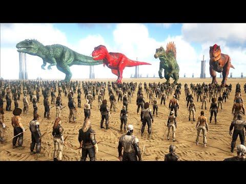 1000-humans-vs-dinosaurs---ark-survival-evolved-|-cantex