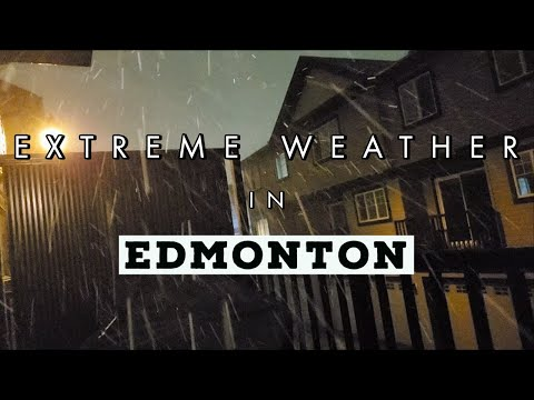 INTENSE SNOWFALL AND STRONG WINDS IN EDMONTON (Snow Squall)