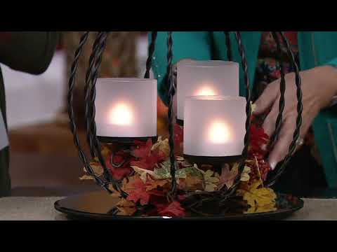 Metal Pumpkin Centerpiece w/ 3 Hurricanes and Tealights by Valerie on QVC