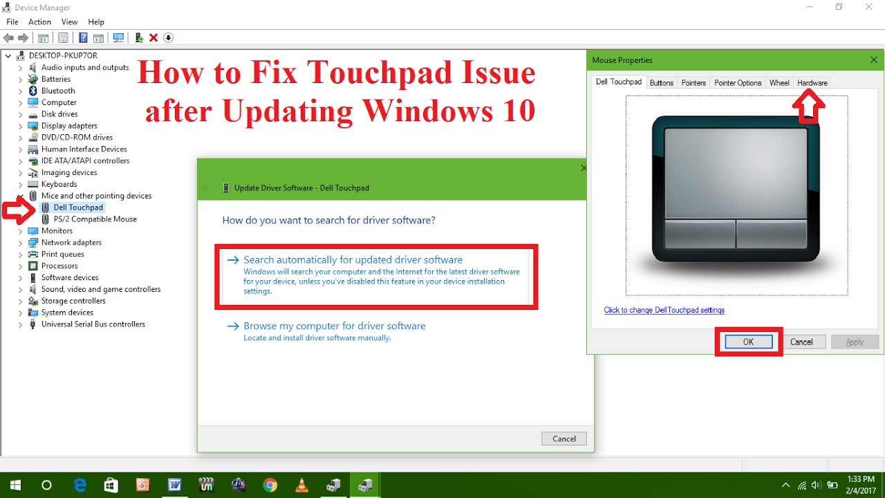 Windows 10: how to change disable or enable touchpad in dell.
