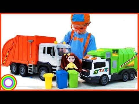 Garbage Truck Videos For Children With BLiPPi Dressed Toddler Min Min Playtime