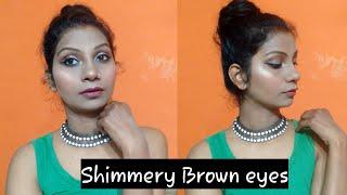 Easy Valentine day makeup look brown shimmery eyes priyanka parashar