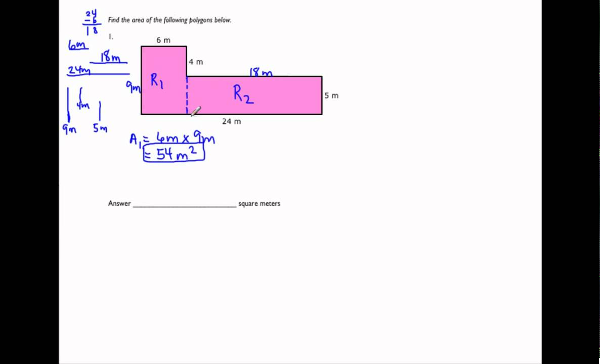 small resolution of Perimeter and Area of Irregular Polygons (examples