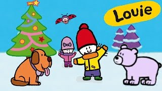 Christmas Cartoon - Louie draw me Winter and Christmas | Learn to draw, cartoon for children