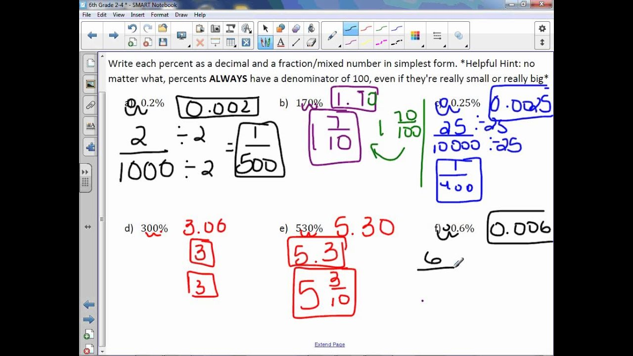 6th Grade 2-4: Percents Greater than 100% and Less than 1% - YouTube