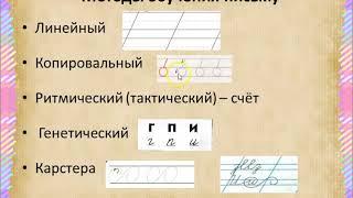 Раздел 1  Лекция 5 Уроки письма в период обучения грамоте