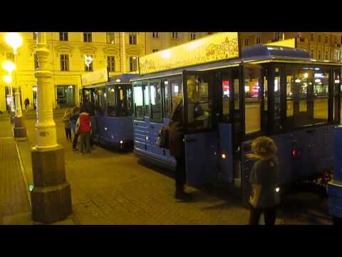 Mini train ride through downtown Zagreb, Croatia.