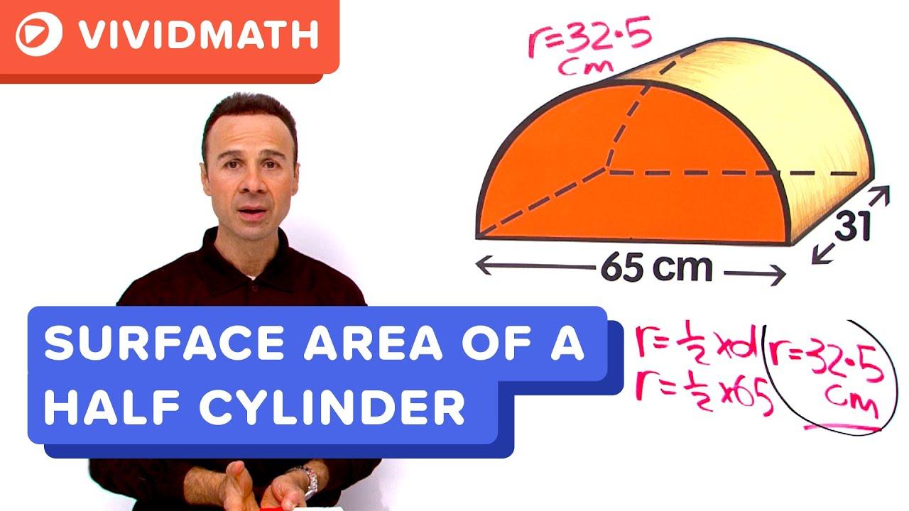 Surface area of a half cylinder vividmaths youtube ccuart Choice Image