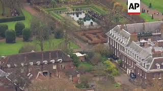 Aerials of Prince Harry and new fiance Meghan Markle at Kensington Palace