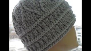 Женская шапка рельефными узорами крючком 2 часть(relief pattern to crochet hats) (Шапка #31)