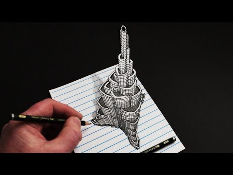 How to Draw The Burj Khalifa: Draw Trick Art 3D Building on Line Paper