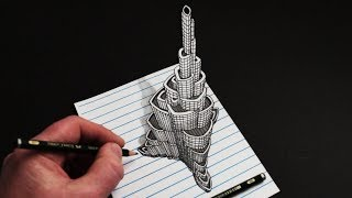 Làm thế nào để vẽ Trick Art 3D Building: Burj Khalifa trên Line Paper