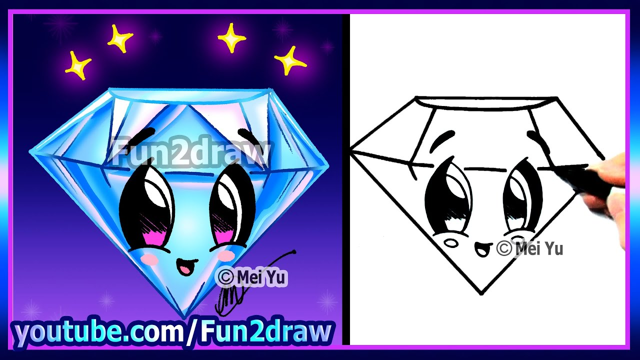 How To Draw Step By Step  Easy Cute Diamond For Love Valentines Mothers  Day  Fun2draw