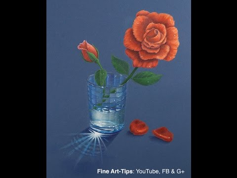 How to Draw a Rose in a Glass of Water With Color Pencils