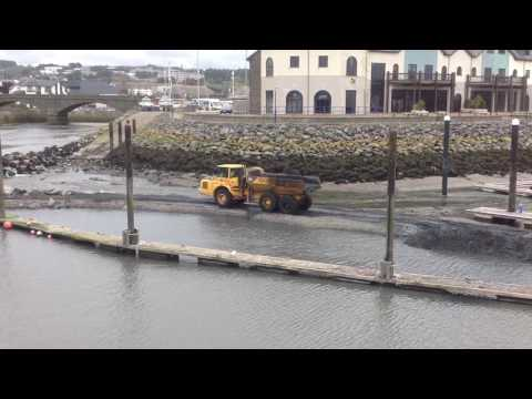 Aberystwyth, Dredging harbour, March 2017. Video 1 of 2