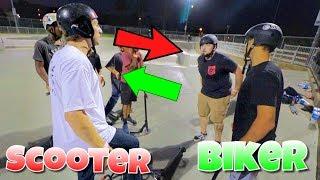 SKATEPARK FIGHT! BIKER VS SCOOTER RIDER