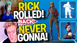 Streamers React To NEVER GONNA Emote & MARVEL BUNDLE Back In The Shop! | NEVER GONNA TROLL EMOTE