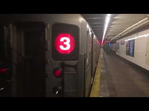 IRT Eastern Pkwy Line: (2) (3) (4) (5) Train action @ Nostrand Ave (R62, R142/A)