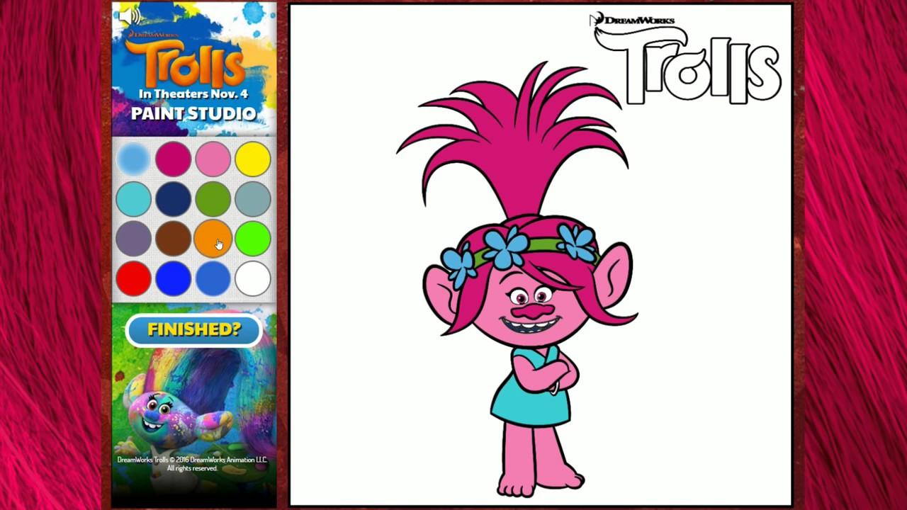 Poppy y Ramn de Trolls  Juego de colorear online gratis para