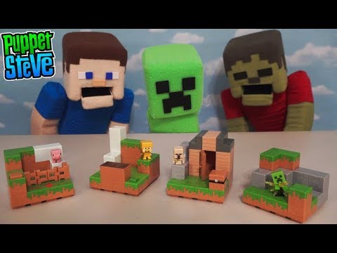 MInecraft Mini Figures Playsets Series 2 Plains Biome Collection Playsets Unboxing Puppet Steve