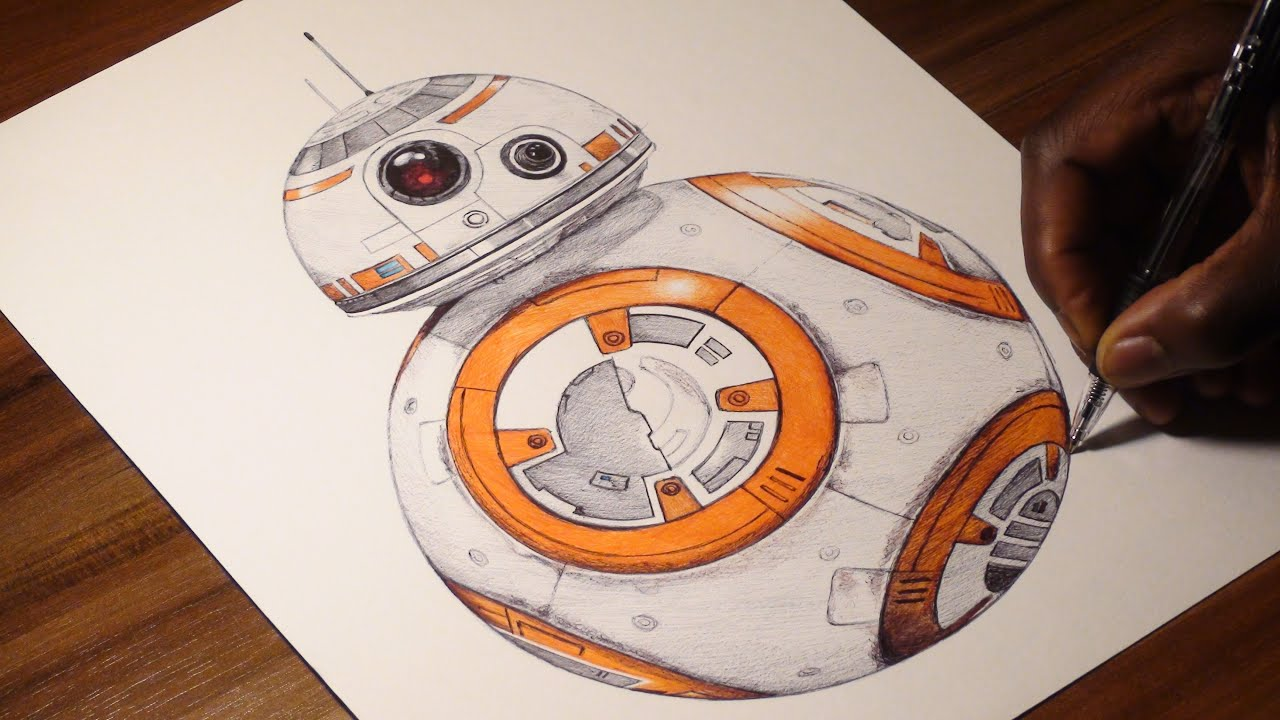 bb 8 pen drawing the force awakens demoose art youtube