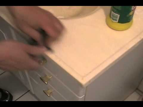 Bathroom Sink Yellow Stain burn marks removing cigarette burn marks from sink top - youtube