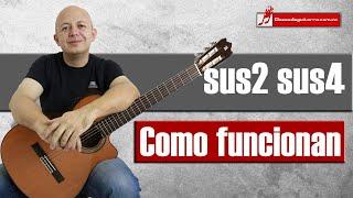 Como funcionan los acordes suspendidos sus2 y sus4 en la guitarra