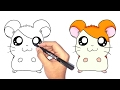 تعلم الرسم | كيف ترسم همتارو خطوة بخطوة للمبتدئين الاطفال