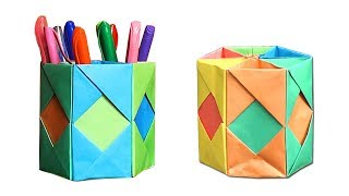Paper Origami Pen Holder - kindergarten crafts - Homecraft - কাগজের তৈরি জিনিস