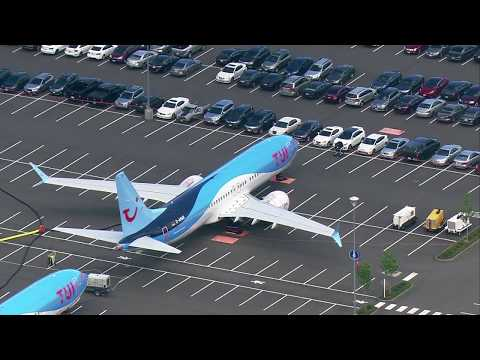 Aerials of 737 MAX planes parked at Boeing Field, Renton factory