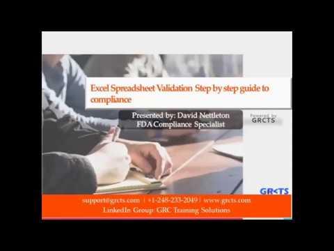 Validating excel spreadsheets fda