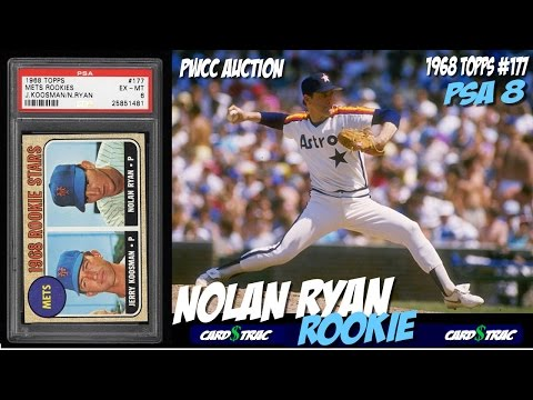 1968 Nolan Ryan Topps rookie card #177 for sale; graded PSA 8. 1968 Nolan Ryan rookie card
