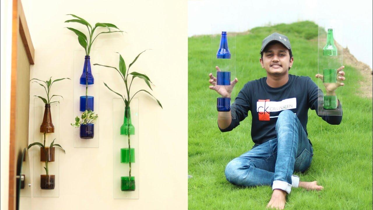 Amazing Glass Bottle Planting Idea | Glass Bottle Craft | Bottle Art Malayalam | Black Paper