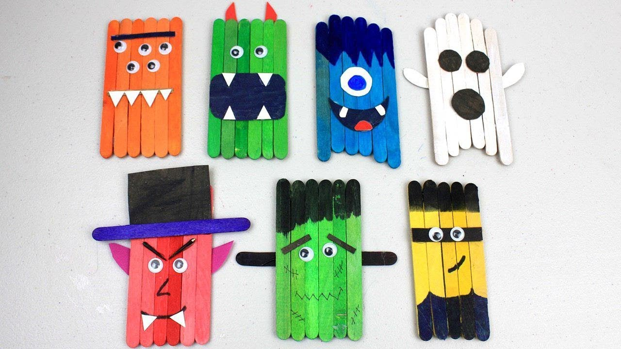8 Easy Popsicle Stick Crafts Cute Monsters For Kids To Do At Home