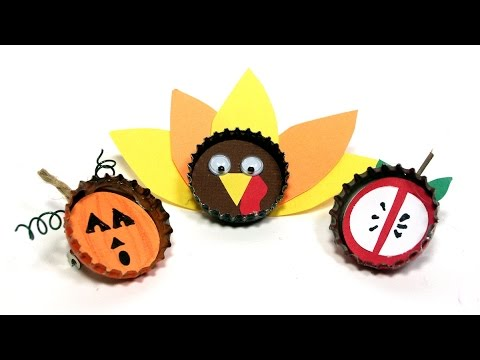 Fall bottle cap pins magnets craft for kids youtube for Bottle cap craft ideas for kids