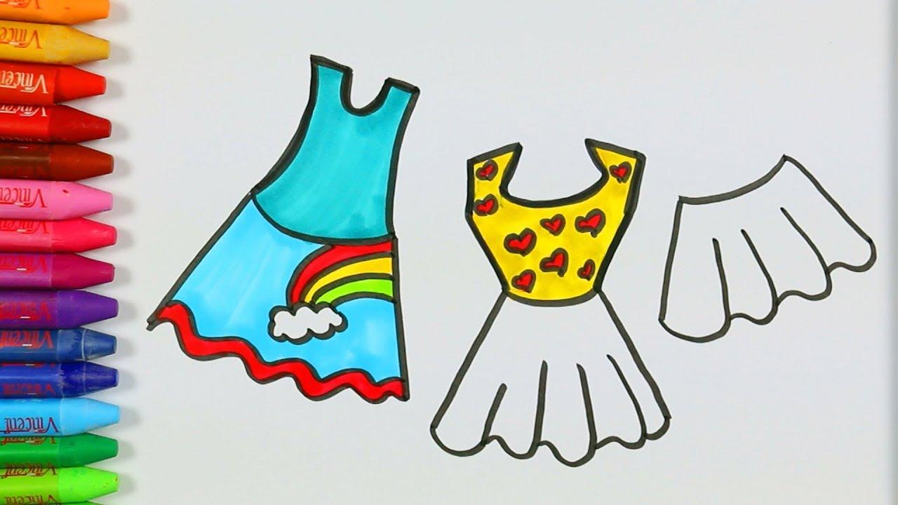 Rengarenk Elbise Çizimi Nasıl Yapılır? 👗   Elbise Nasıl Çizilir?  Çocuklar İçin Renklendirme Sayfası