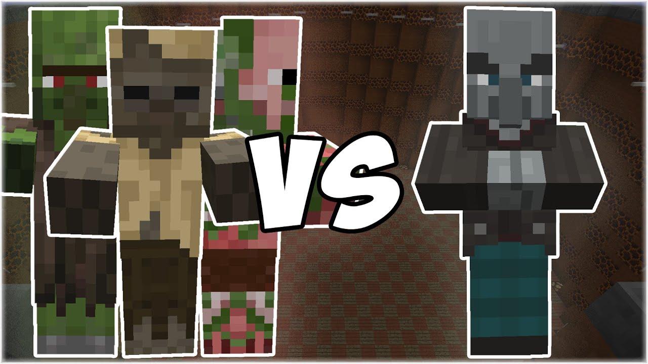 Zombie Villager + Husk + Zombie Pigman vs Vindicator - Minecraft Mob Battle