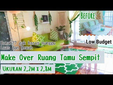 make over ruang tamu sederhana dengan dekorasi warna hijau