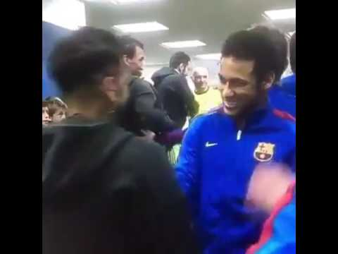 Dani Alves hugs Messi, Suarez and Neymar