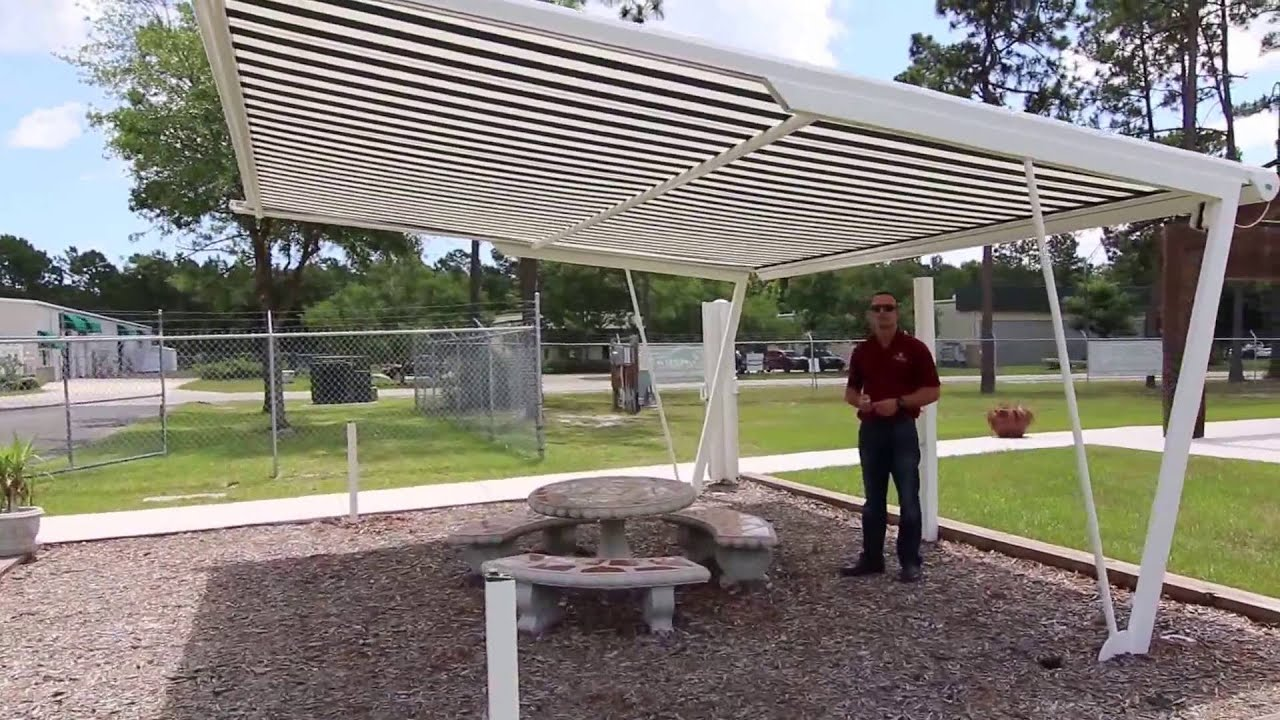 Freestanding Retractable Awning Shade Structure Installable Anywhere In A Yard