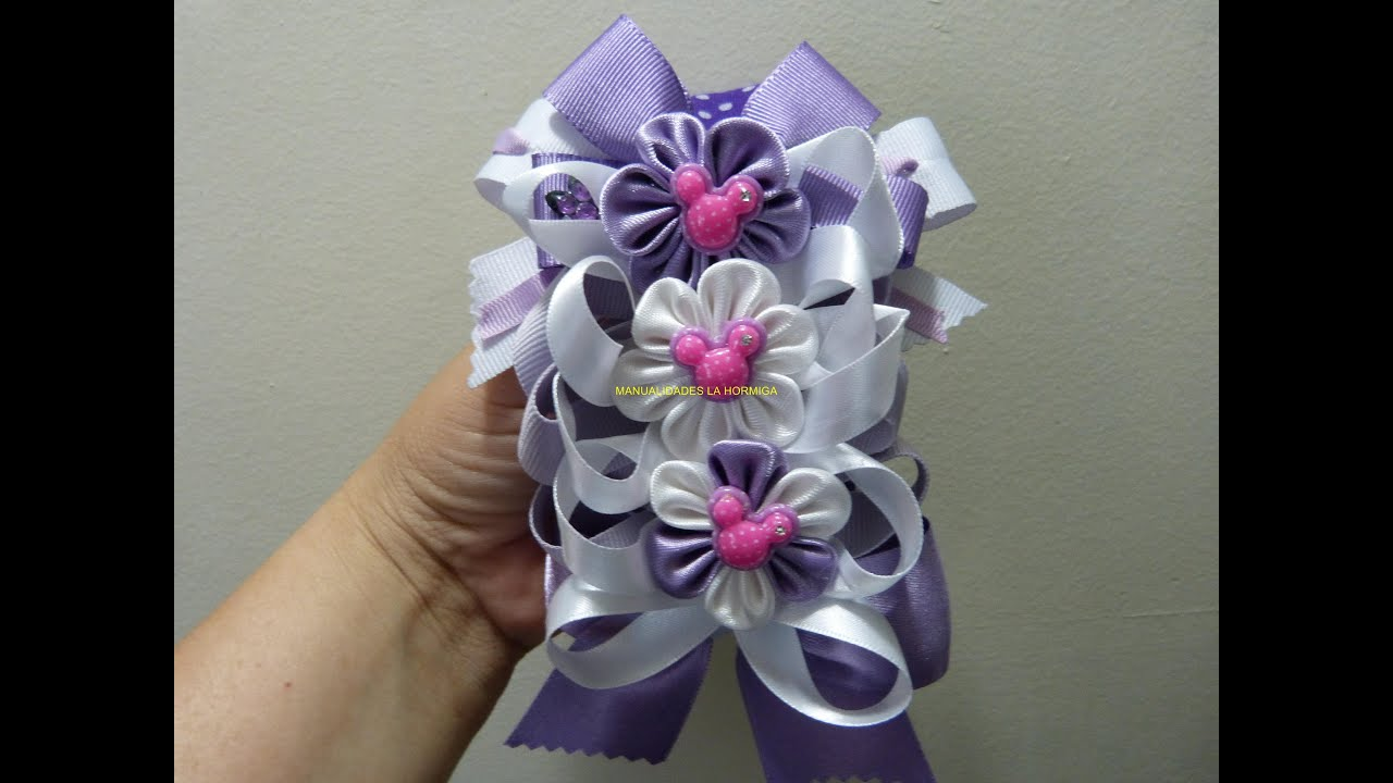 Como hacer mo os para balacas how to make ribbon ties and flowers youtube - Manualidades con lazos ...