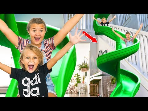 WE TRANSFORMED OUR STAIRS INTO A HUGE SLIDE inside Our House!! | Slyfox Family